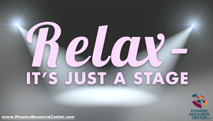 graphic that says relax - it's just a stage; stages of team development