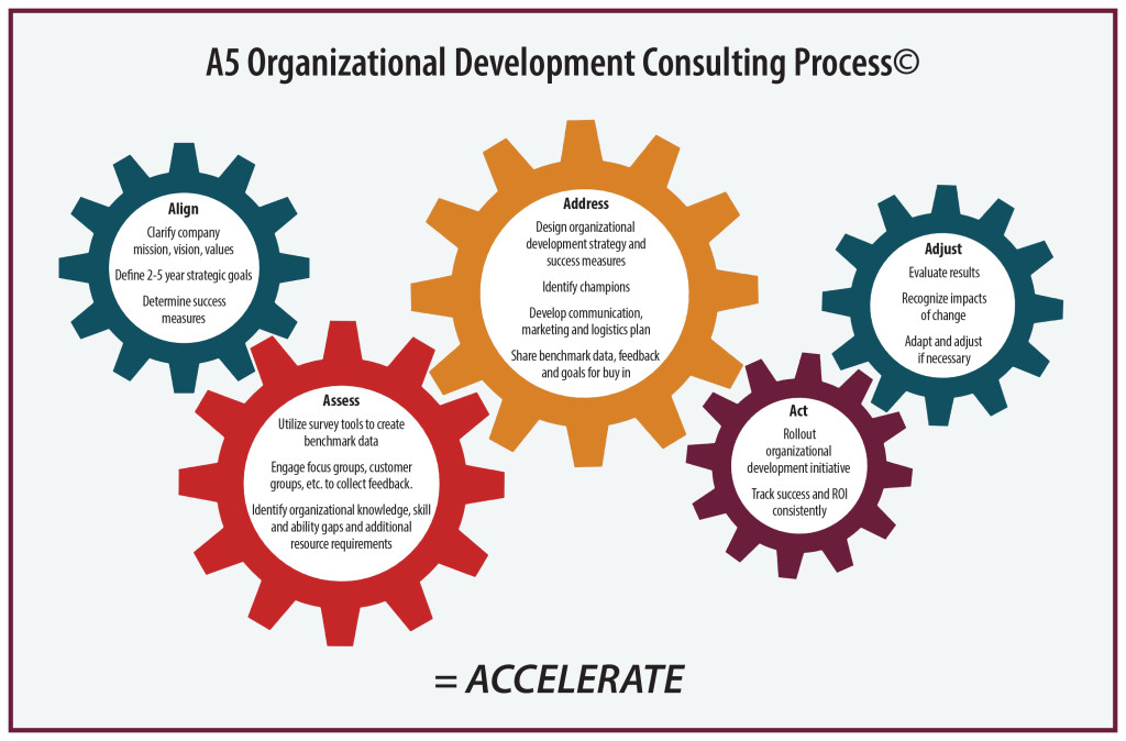 graphic with cogs which depict the organizational consulting process