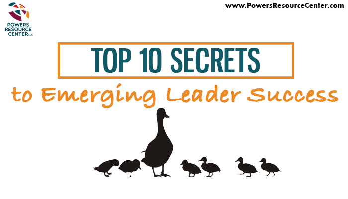 graphic that says top 10 secrets to the success of emerging leaders
