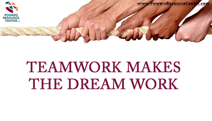 graphic that says teamwork makes the dream work