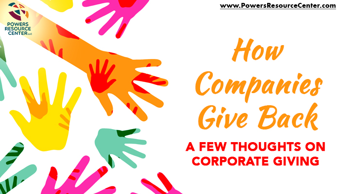 graphic that says how companies give back a few thoughts on corporate giving