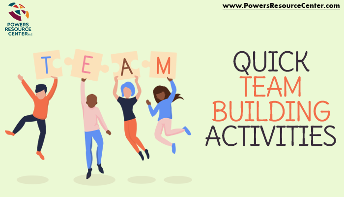 graphic that says quick team building activities